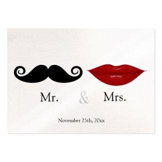 Sr. y la señora (labios y el Stache) que casa RSVP Tarjetas De Visita Grandes