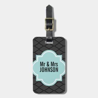 Sr. y la señora lindos etiqueta del equipaje del v etiquetas maletas