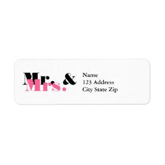 Sr. y la señora lindos etiquetas de dirección para
