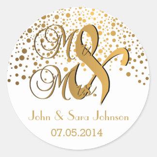 Sr. y la señora puntos del oro del | el | el pegatina redonda