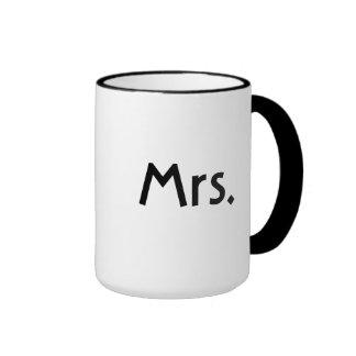 Sr. y la señora taza fijaron - las tazas blancos y