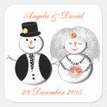 Sr. y novia y novio de señora Snowman Cute Snow Calcomania Cuadradas Personalizadas