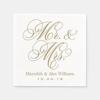 Sr. y oro antiguo y blanco de señora Napkins el | Servilletas De Papel