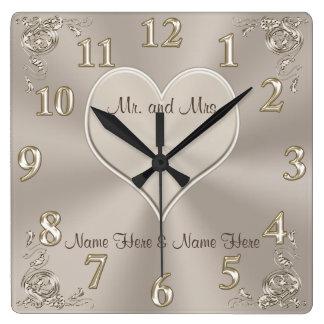 Sr. y señora adaptables Gifts Champán Clock Reloj Cuadrado
