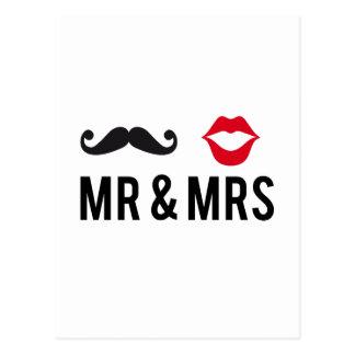 Sr. y señora, bigote y labios rojos tarjetas postales