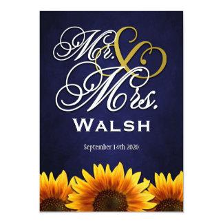 """Sr. y señora Blue Sunflower Wedding Invitations Invitación 5"""" X 7"""""""