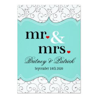 Sr. y señora Blue Wedding Invitations Anuncio