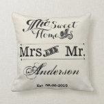 Sr. y señora boda de la tipografía del vintage almohadas