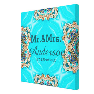 Sr. y señora bohemios del modelo de la turquesa impresión en tela