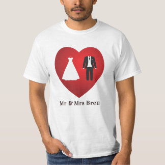 Sr. y señora Breu Wedding Marriage T-Shirt Playera