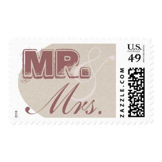 Sr. y señora Cafe Linen Stamp Franqueo