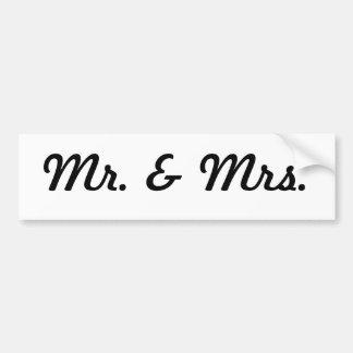 Sr. y señora pegatina para auto