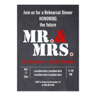 Sr. y señora cena del ensayo del boda de la comunicado personalizado