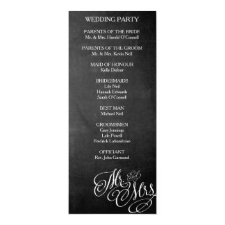 """Sr. y señora clásicos Wedding Program Chalkboard Invitación 4"""" X 9.25"""""""