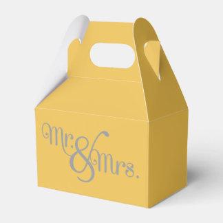 Sr. y señora Classy Grey en amarillo Cajas Para Detalles De Boda