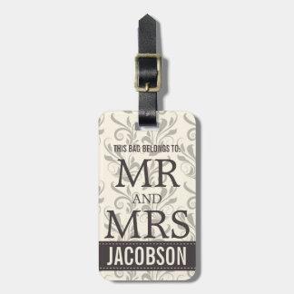 Sr. y señora con clase Personalized del damasco Etiqueta Para Equipaje