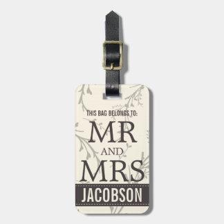 Sr. y señora con clase Personalized Etiqueta De Maleta