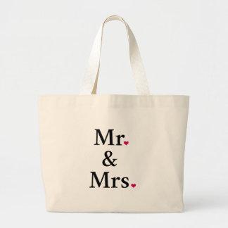 Sr. y señora con dos corazones rojos bolsa tela grande