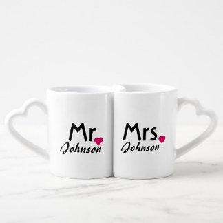 Sr. y señora conocidos personalizados sistema de l taza amorosa