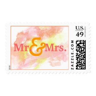 Sr. y señora coralinos Wedding Stamp de la Envio