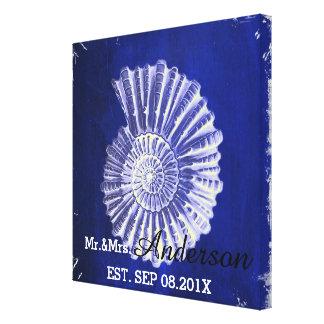 Sr. y señora costeros del boda de los seashells impresión en lona