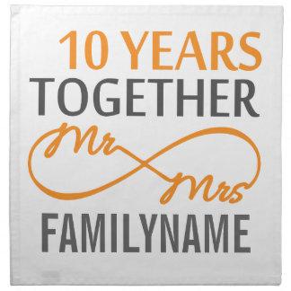 Sr. y señora de encargo 10mo aniversario servilletas de papel