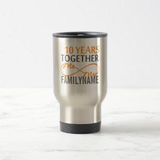 Sr. y señora de encargo 10mo aniversario tazas de café