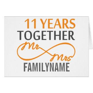Sr. y señora de encargo 11mo aniversario tarjeta de felicitación