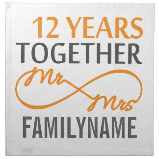 Sr. y señora de encargo 12mo aniversario servilleta de papel
