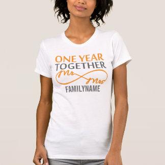 Sr. y señora de encargo 1r aniversario tee shirts