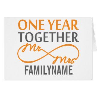 Sr. y señora de encargo 1r aniversario tarjeta de felicitación