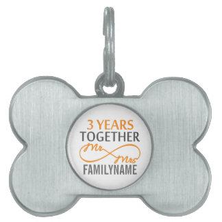 Sr y señora de encargo 3ro aniversario placa de mascota