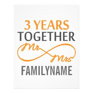 Sr y señora de encargo 3ro aniversario membrete personalizado