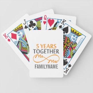 Sr. y señora de encargo 5to aniversario baraja cartas de poker
