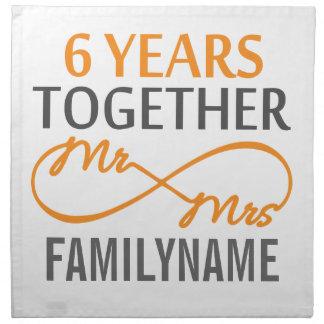 Sr. y señora de encargo 6to aniversario servilleta de papel