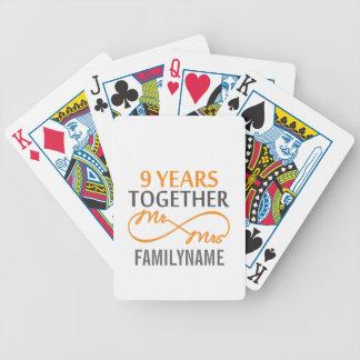 Sr. y señora de encargo 9no aniversario barajas de cartas