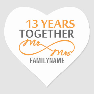 Sr. y señora de encargo décimotercero aniversario pegatina en forma de corazón