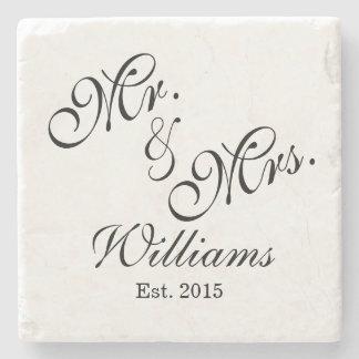 Sr. y señora de encargo Wedding Coasters Posavasos De Piedra