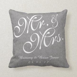 Sr. y señora de lino Wedding Pillow del blanco Cojín Decorativo
