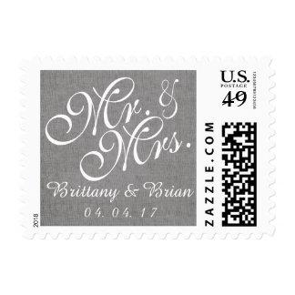 Sr. y señora de lino Wedding Postage del blanco Estampillas