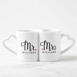 Sr. y señora de moda de la escritura set de tazas de café