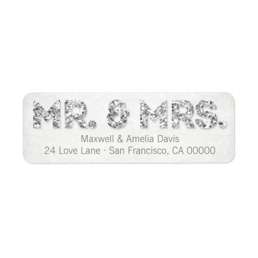 Sr. y señora de plata Labels de la mirada del bril Etiquetas De Remite