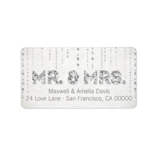 Sr. y señora de plata Labels de la mirada del bril Etiqueta De Dirección