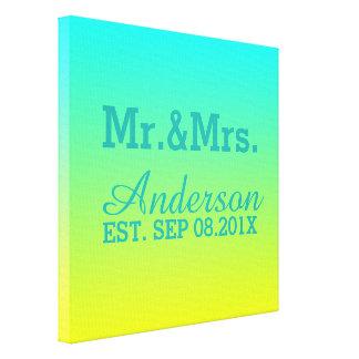 Sr. y señora del boda del ombre del verde amarillo impresiones de lienzo
