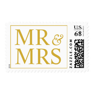 Sr. y señora Design Larger Weddings Gold Timbres Postales