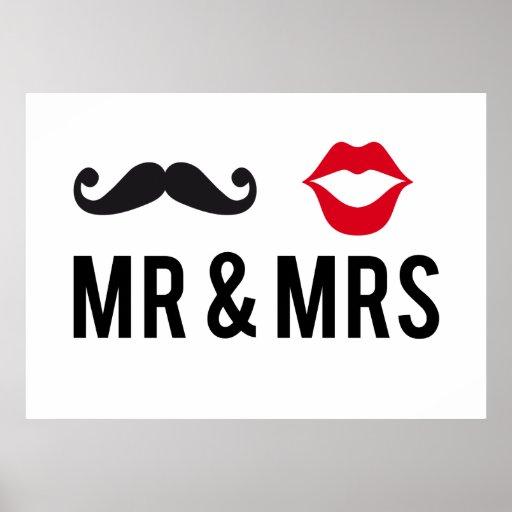 Sr. y señora, diseño del texto con el bigote y lab posters