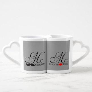 Sr. y señora divertidos la Right Tazas Amorosas