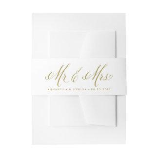 Sr. y señora Elegant Script Wedding del oro Cintas Para Invitaciones