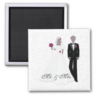 Sr. y señora elegantes imán cuadrado