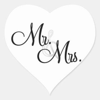 Sr. y señora ENVELOPE y PEGATINAS del corazón del Calcomanía De Corazón Personalizadas